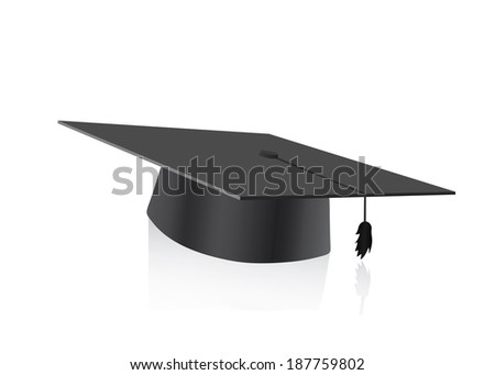 Graduation cap blank isolated on a white background - stock vector