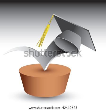 graduation cap bouncing on brown patch