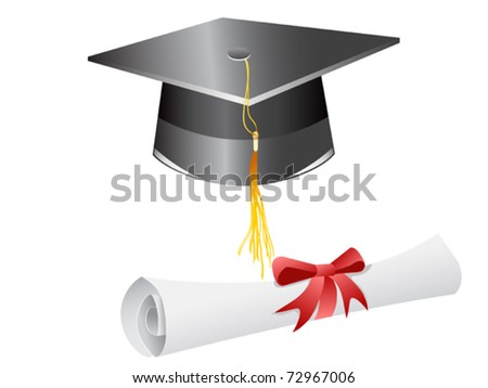 graduation cap diploma isolated on a white background - stock vector