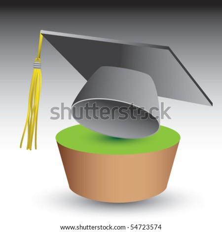 graduation cap green patch - stock vector