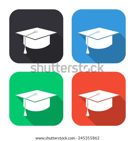 graduation cap icon - colored illustration (gray, blue, green, red) with long shadow - stock vector