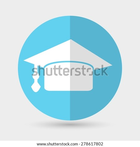 Graduation cap icon on a white background - stock vector