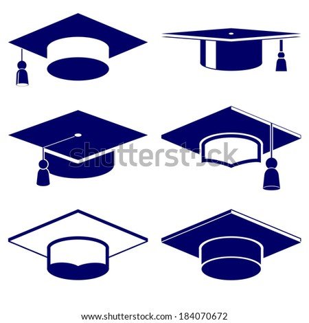 Graduation cap icon  set vector  illustration - stock vector