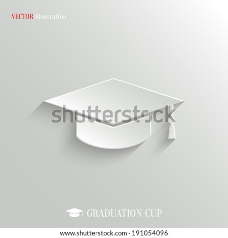 Graduation cap icon - vector web illustration, easy paste to any background - stock vector