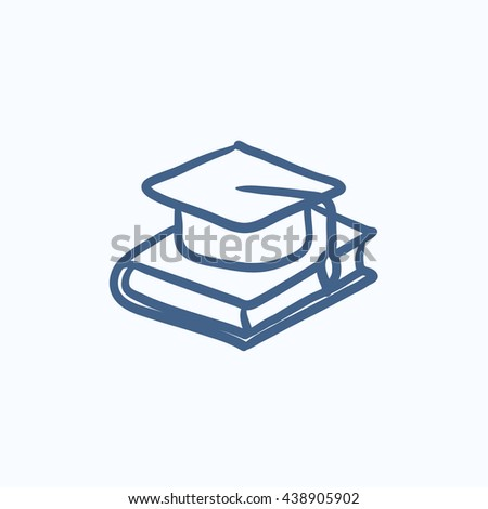 Graduation cap laying on book vector sketch icon isolated on background. Hand drawn Graduation cap laying on book icon. Graduation cap laying on book sketch icon for infographic, website or app. - stock vector