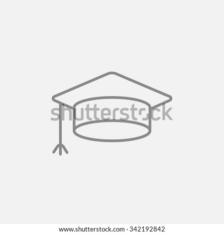 Graduation cap line icon for web, mobile and infographics. Vector dark grey icon isolated on light grey background. - stock vector