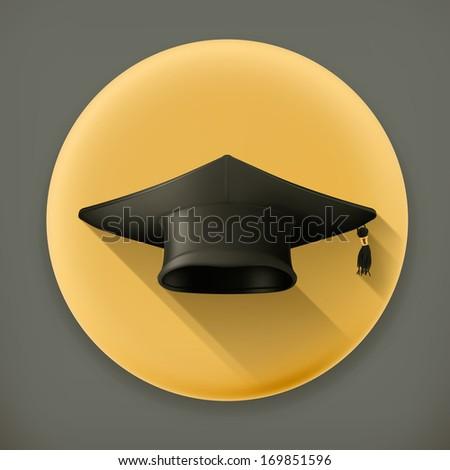 Graduation cap, long shadow vector icon - stock vector
