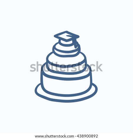 Graduation cap on top of cake vector sketch icon isolated on background. Hand drawn Graduation cap on top of cake icon. Graduation cap on top of cake sketch icon for infographic, website or app. - stock vector