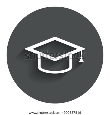 Graduation cap sign icon. Higher education symbol. Circle flat button with shadow. Modern UI website navigation. Vector - stock vector