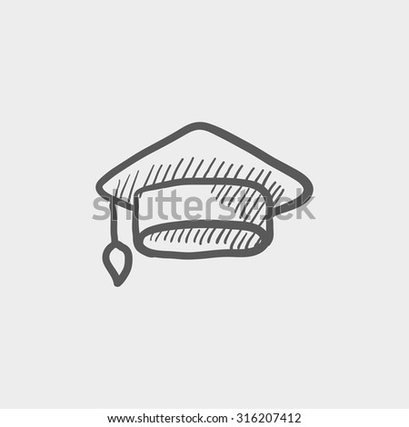 Graduation cap sketch icon for web, mobile and infographics. Hand drawn vector dark grey icon isolated on light grey background. - stock vector