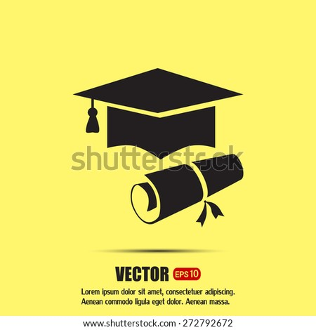 Graduation cap vector icon - stock vector