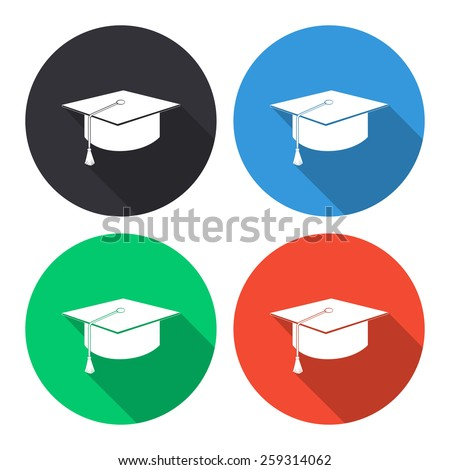 Graduation cap vector icon - colored(gray, blue, green, red) round buttons with long shadow - stock vector