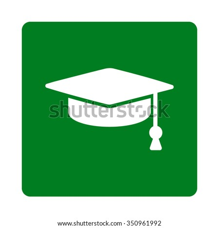 Graduation Cap vector icon. Style is flat rounded square button, white and green colors, white background. - stock vector