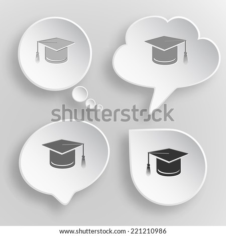 Graduation cap. White flat vector buttons on gray background. - stock vector