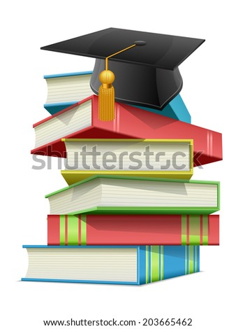 Graduation cap with books - stock vector