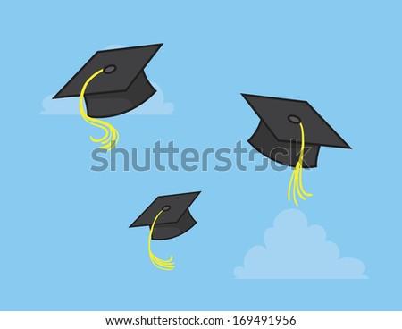 Graduation caps thrown into the sky  - stock vector