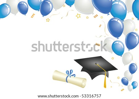 Graduation celebration with balloons, cap, diploma, and gold confetti - stock vector