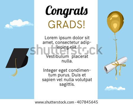 Graduation Ceremony Poster Party Invitation Greeting Stock Vector