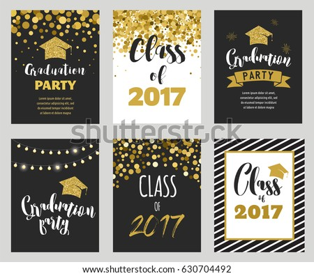 graduation class 2017 party invitations posters stock vector