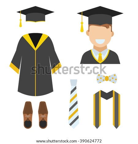 Graduation clothes and accessories set. Ceremonial gown, tie, ribbon, shoes, bow-tie and hat with happy graduate guy vector icon isolated on white. Graduation ceremony robe. Bachelor wear set. - stock vector