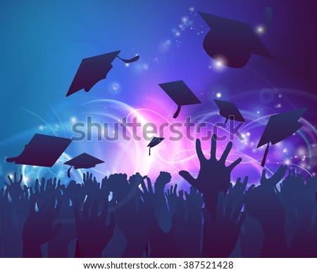 Graduation Convocation Crowd Concept Student Hands Stock ...
