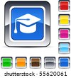 Graduation glossy square web buttons. - stock photo
