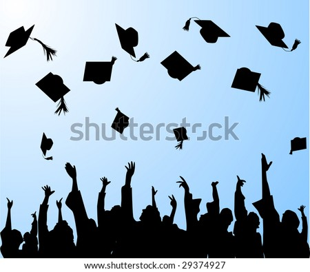 graduation- graduates tossing the mortar boards in the air - stock vector