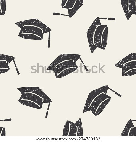 graduation hat doodle seamless pattern background - stock vector