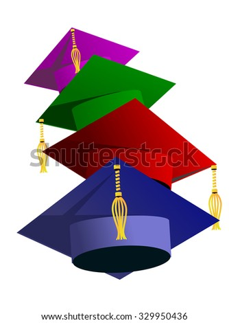Graduation hat vector illustration. Education hat, students or school and college hat symbol. Graduation cap isolated. Education hat symbol. University hat silhouette. Education hat vector isolated - stock vector