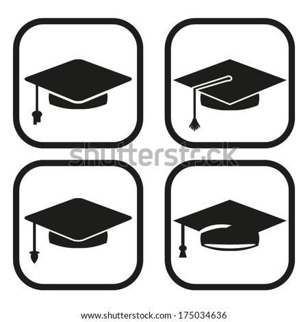 Graduation icon - four variations - stock vector