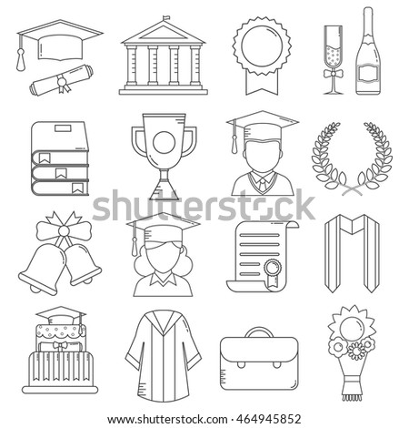 Graduation icon set of celebration elements in outline design. Man and woman graduate in hats and celebrating education party line art objects. Graduation award thin line icons collection.