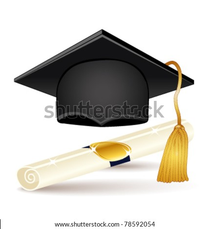 Graduation icons set. Vector cap and diploma.