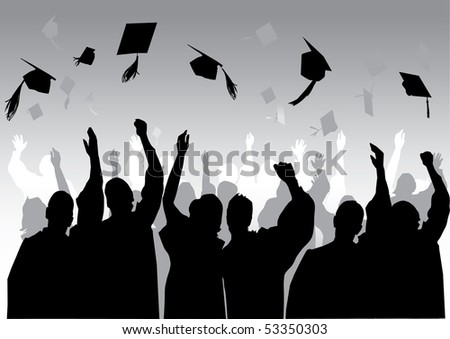 Graduation in silhouette in grey - stock vector