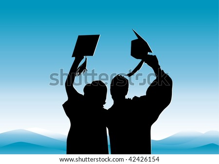 Graduation in silhouette of girl and boy graduates - stock vector