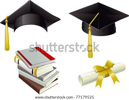 Graduation. Isolated Mortar Boards, books and Diploma - stock vector