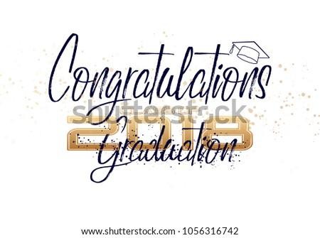 graduation label vector text graduation design stock vector