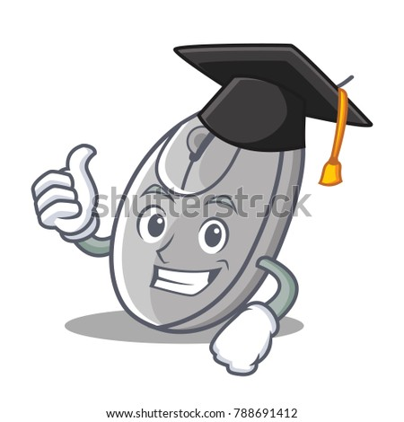 Graduation mouse character cartoon style