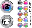 Graduation multicolor glossy round web buttons. - stock photo