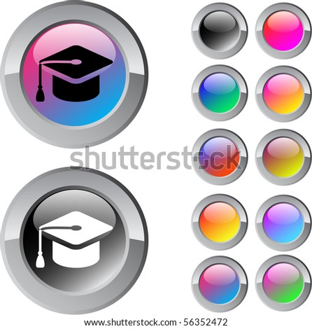 Graduation multicolor glossy round web buttons. - stock vector