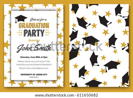 graduation party vector template invitation to the traditional ceremony college university or high school - Graduation Party
