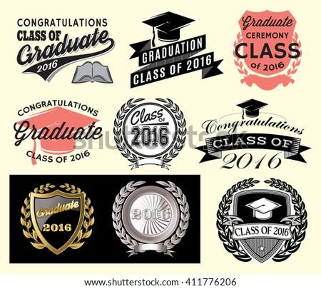 Graduation sector set Class of 2016, Congrats grad Congratulations Graduate - stock vector