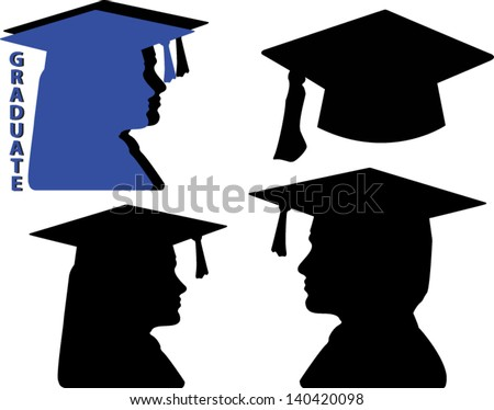 graduation silhouette vector icons including a male and female graduate and a cap