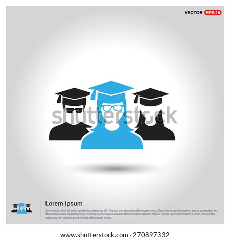 graduation student. education class college school User Icon. University Users Icon. Student Community. friends. group Teamwork concept. Blue bright student Highlight. Flat style design Pictogram icon - stock vector