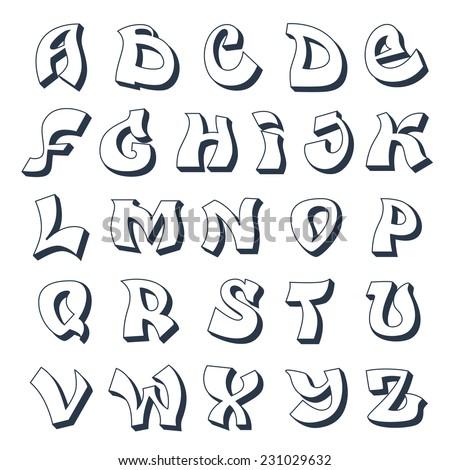 Graffiti alphabet cool street style font design white vector ...