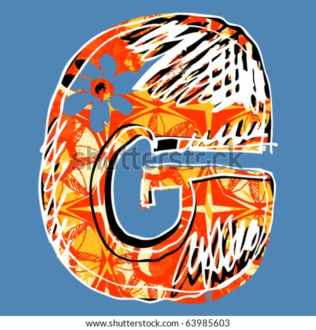 graffiti alphabet, hand drawn letter G - stock vector