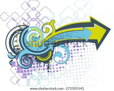 Graffiti arrows-color - stock vector