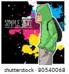 Graffiti character in sketch-style. Vector illustration. Place for your text. - stock vector