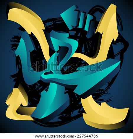 Graffiti Design Template: Arrows - stock vector