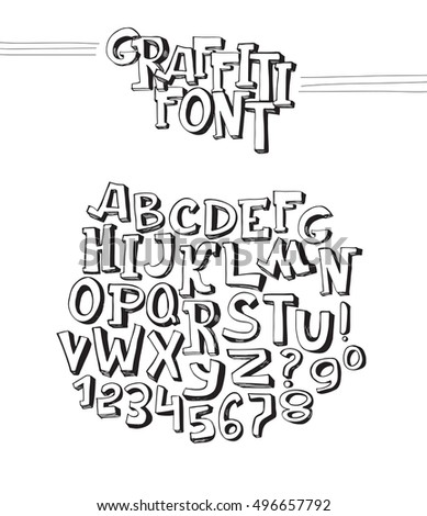 Graffiti Font Abc Letters From A To Z And Numbers 0 9