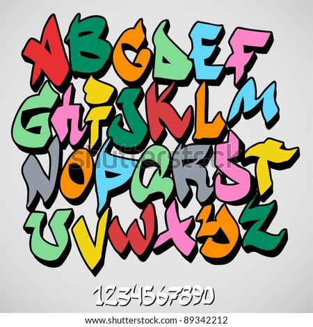 graffiti font alphabet - stock vector
